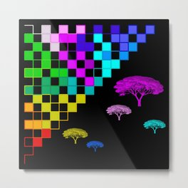 little colored squares and trees Metal Print