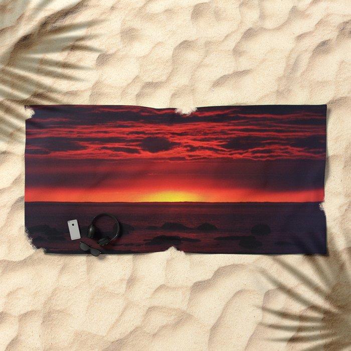 Red Sky at Night Beach Towel