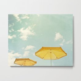 Beach Umbrella Photography, Mint Yellow Coastal Photograph, Teal Turquoise Summer Photo Print Metal Print