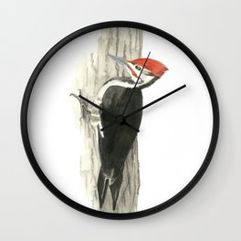 Pileated Woodpecker - Watercolor Wall Clock