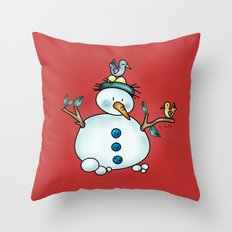 Snowman {Friendly - red} Throw Pillow