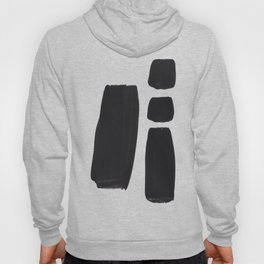 Black And White Minimalist Mid Century Abstract Ink Art Simple Brush Strokes Square Exclamation Mark Hoody