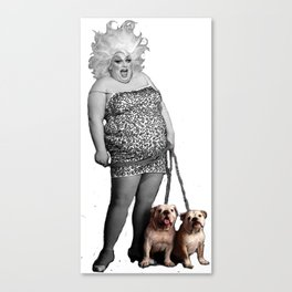 Divine and her dogs Canvas Print