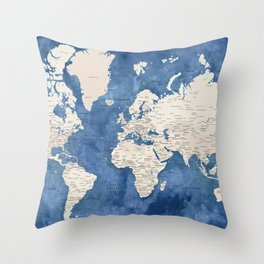 Light brown and blue watercolor detailed world map Throw Pillow
