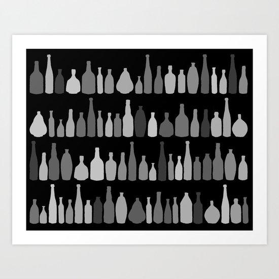 Bottles Black and White on Black Art Print