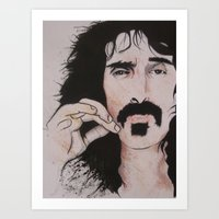 zappa Art Prints featuring Frank zappa by Russell Lake