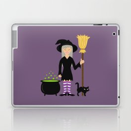 Cute Witch Girl And A Black Cat Halloween Design Laptop & iPad Skin