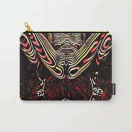 8755-KMA Submissive Woman on Mirror Presents Her Naked Body Zebra Striped Abstract Carry-All Pouch