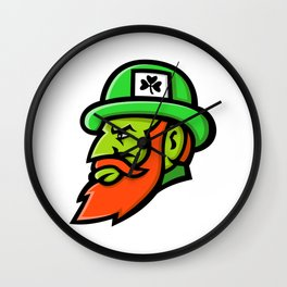 Leprechaun Head Mascot Wall Clock