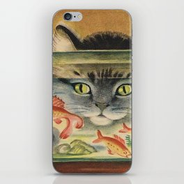 Cat Looking at Goldfish Vintage Art iPhone Skin