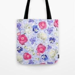 Rose Ranunculus Pansy Flowers over Pale Blue Tote Bag
