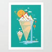 island Art Prints featuring mystery island by Steven Toang