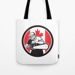 Canadian Tree Surgeon Chainsaw Canada Flag Tote Bag
