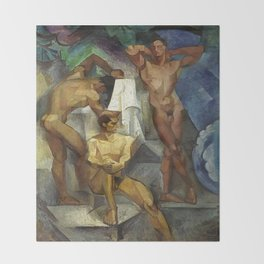Young Bathers by George Pauli Nude Male Art Throw Blanket