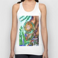 gnome Tank Tops featuring Gnome girl by fairychamber