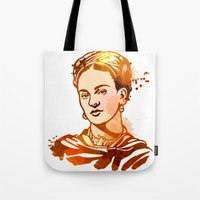 frida kahlo Tote Bags featuring FRIDA KAHLO by BIG Colours