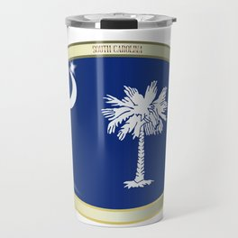 South Carolina State Flag Oval Button Travel Mug