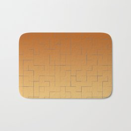 Blue square fragments on a orange and beige background Bath Mat