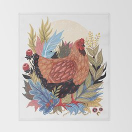 Spring Chicken Throw Blanket