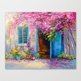 Blooming courtyard Canvas Print