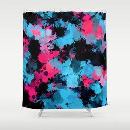 Pink and Blue Paint Splatter Shower Curtain
