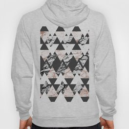 Modern Black White Rose Gold Marble Geo Triangles Hoody