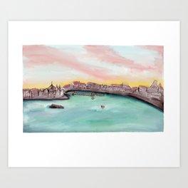 Budapest Skyline Watercolor Art Print
