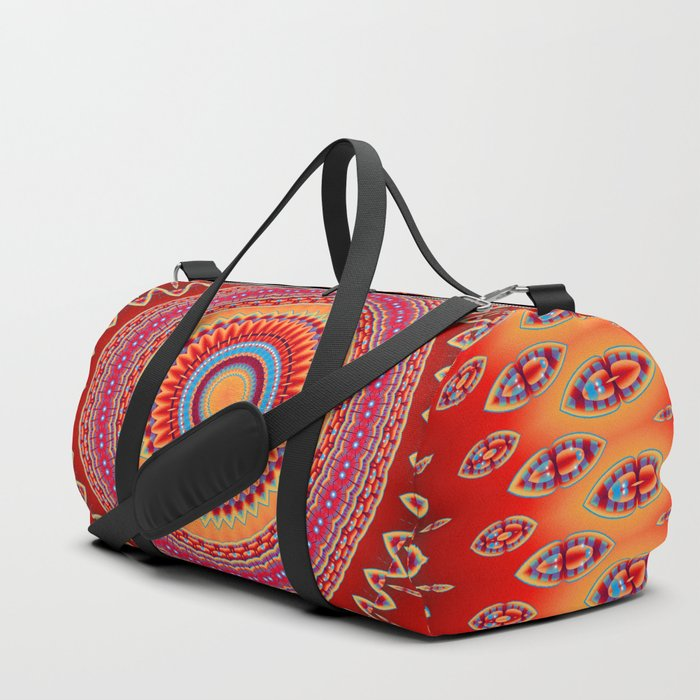 orange red mandala Duffle Bag