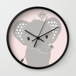 Elephant with Pink Background Wall Clock