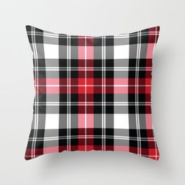 Red, Black, White, Tartan Plaid Pattern Throw Pillow