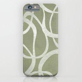 Interlocking | Olive Green & White | Shapes iPhone Case