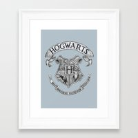 hogwarts Framed Art Prints featuring Hogwarts by Cécile Pellerin