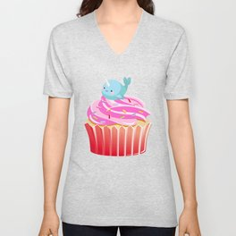 Cute Narwhal T-shirt Cupcake Lovers Tee Unisex V-Neck