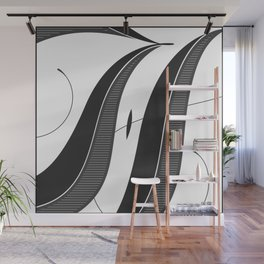 Letter H - Script Lettering Cropped Design Wall Mural