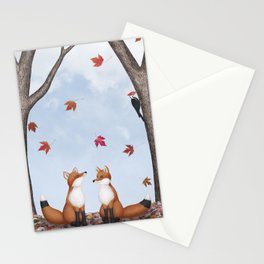 foxes, falling leaves, & pileated woodpecker Stationery Cards