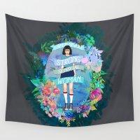 tina crespo Wall Tapestries featuring I Am A Smart, Strong, Sensual Woman - Tina by Sara Eshak