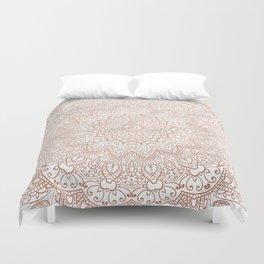 Mandala - rose gold and white marble 3 Duvet Cover