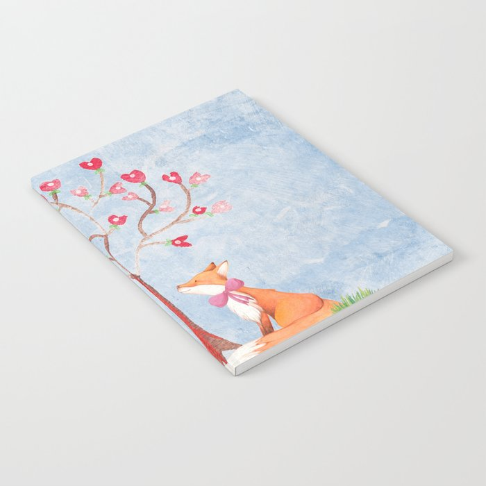 Fox love- foxes animal nature _ Watercolor illustration Notebook