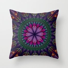 Summer mandala with fantasy flower and petals Throw Pillow