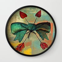 bow Wall Clocks featuring Bow by Kerri Swayze