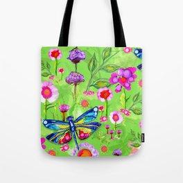Tropical Dragonfly Garden Tote Bag