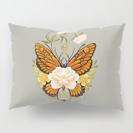 Butterfly Peonies Tattoo Pillow Sham