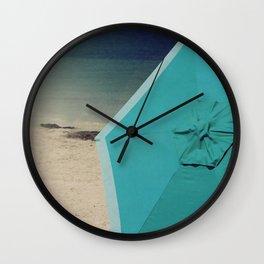 Aqua Beach Umbrella Wall Clock