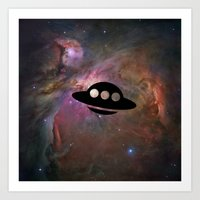 ufo Art Prints featuring UFO by Ace of Spades