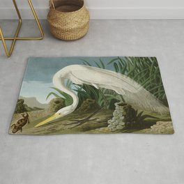 White Heron - John James Audubon's Birds of America Print Rug