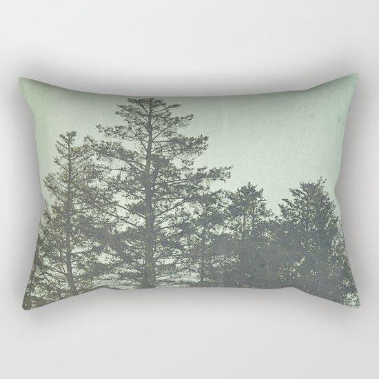 Trees in Fog Rectangular Pillow
