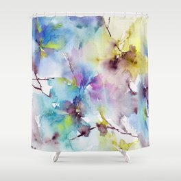 Blue abstract pattern. Abstract flowers. Shower Curtain