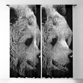 kodiak brown bear vector art black white Blackout Curtain