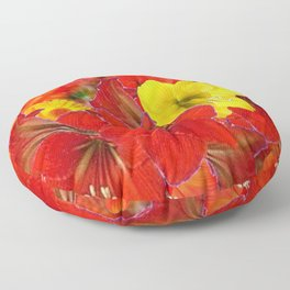 DECORATIVE RED-YELLOW AMARYLLIS BOUQUET Floor Pillow