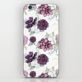Succulents Deep Violet Lavender Pastel Green Lilac PatternSee Nature Magick for more pretty pastel c iPhone Skin